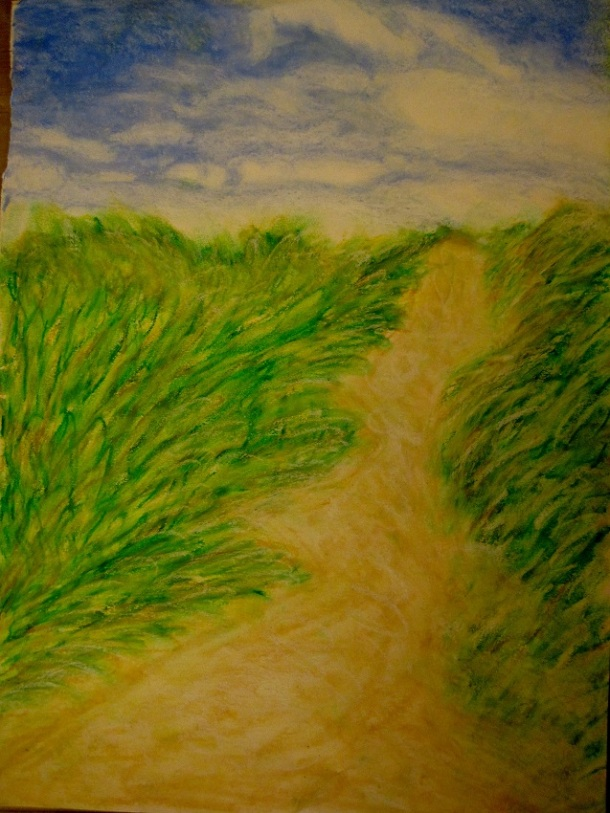 The dunes in oil pastel ©copyright2013owpp